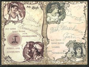 Kalender 1896, Brook's Nähmaschinen Garn, Damen telefonieren Übersee Afrika, Asien, Europa und Amerika