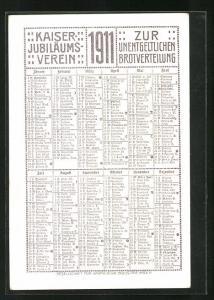 Kalender 1911, Kaiser Jubiläums-Verein zur unentgeldlichen Brotverteilung, junges Paar küsst sich