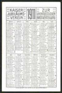Kalender 1911, Kaiser Jubiläums-Verein zur unentgeldlichen Brotverteilung, Knabe küsst Mädchen auf die Wange