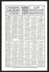 Kalender 1911, Kaiser Jubiläums-Verein zur unentgeldlichen Brotverteilung, Kinder küssen sich