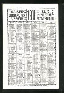 Kalender 1911, Kaiser Jubiläums-Verein zur unentgeldlichen Brotverteilung, Knaben streiten sich