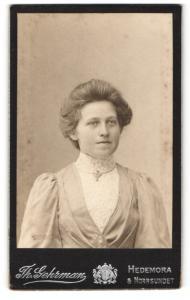 Fotografie Th. Gehrmann, Hedemora, Portrait bezauberndes Fräulein mit Brosche am Kragen
