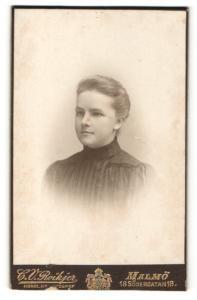 Fotografie C. V. Roikjer, Malmö, Portrait junge hübsche Dame im eleganten Kleid