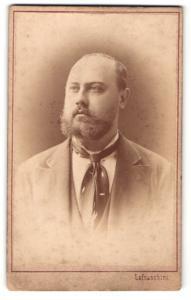 Fotografie Lafranchini, Wien, Portrait Herr mit Vollbart im Anzug mit Krawattentuch