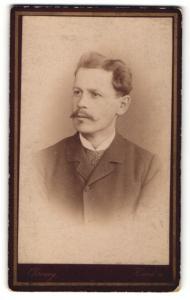Fotografie Franz Chromy, Kaaden, Portrait bürgerlicher Herr mit Schnauzbart im Anzug