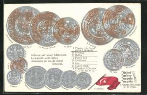 Präge-AK Münzen und Flagge der Türkei, Umrechnungstabelle Piaster