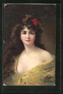 Künstler-AK Angelo Asti: Junge Dame mit langen Haaren und Blume im Haar