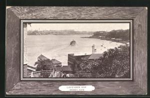 AK Sydney, Lavender Bay, Panorama in Zierrahmen, Passepartout