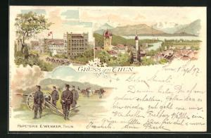 Lithographie Thun, Papeterie E. Wenker, Teilansicht, Soldaten in Uniformen mit Kanone