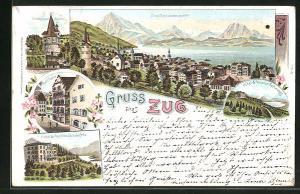 Lithographie Zug, Hotel & Pension Schönfels, Rathaus, Kapuzinerturm