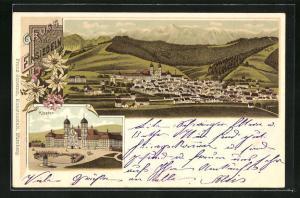 Lithographie Einsiedeln, Ortsansicht aus der Vogelschau, Blick zum Kloster