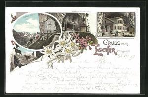 Lithographie Äscher / Escher, Wildkirchli Gasthaus, Wildkirchli Kapelle, Ortsansicht