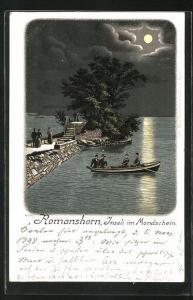 Lithographie Romanshorn, Inseli im Mondschein