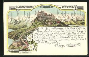 Lithographie Rigi-Kulm, Schreibers`s Hotel`s u. Hotel & Pension Rigi-Staffel, Panorama m. Kl. Ruchen, Gr. Ruchen u. Tödi