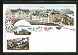 Lithographie Rigi, Rigi-Känzeli, Rigi-Kulm, Schnurtobelbrücke