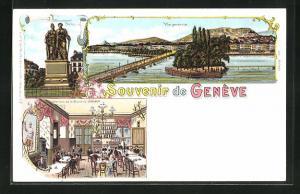 Lithographie Geneve, Interieur de la Brasserie Jaeger, Vue generale, Monument National