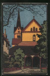 Künstler-AK Schaffhausen, Ortspartie am Münster