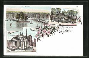 Lithographie Geneve, L`Université, la Cathédrale, Ile J. J. Rousseau