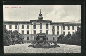 AK Chur, Anstalt Waldhaus mit Auffahrt und Eingangsfassade