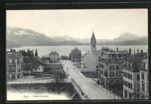 AK Zug, Alpenstrasse, Hotel Zugerhof, Kirche und Blick auf See mit Gebirge