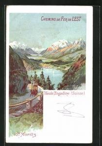 Lithographie St. Moritz, Panoramablick auf Ort und Seen