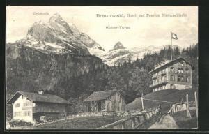 AK Braunwald, Hotel-Pension Niederschlacht und Hoher Turm