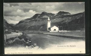 AK Sils Baseglia, Gebirgspanorama mit Kirchlein am Fluss