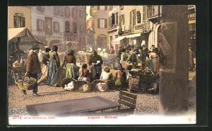 Künstler-AK Lugano, Mercato, Markttag mit Anwohnern
