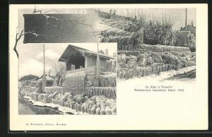 AK Versoix, Restaurant Garneret, hiver 1905, La bise