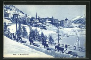 AK St. Moritz-Dorf, Teilansicht im Schnee