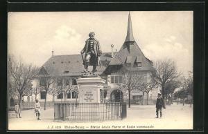 AK Chene-Bourg, Statue Louis Favre et Ecole communale