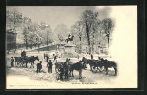 AK Genf, Place Neuve im Winter, Pferdekutschen