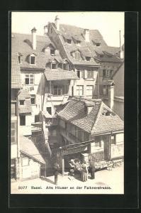 AK Basel, Alte Häuser an der Falknerstrasse