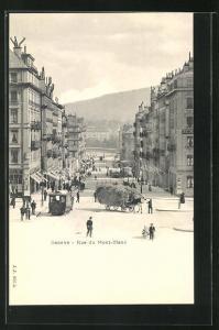 AK Genf, Rue du Mont-Blanc, Pferdebahn