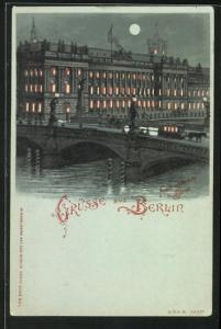 Mondschein-Lithographie Berlin, Friedrichsbrücke und Börse an der Burgstrasse, Halt gegen das Licht: beleuchtete Fenster