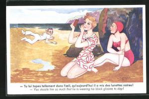 AK Dame im Bikini und Dame am Strandkleid mit Spiegel werden von einem Herrn beobachtet