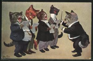 Künstler-AK Arthur Thiele: vermenschlichter Kater-Männerchor mit Dirigenten