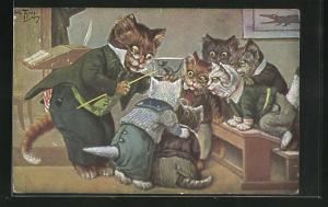 Künstler-AK Arthur Thiele: vermenschlichte Katzenkinder begutachten eine Maus im Glaskäfig während des Schulunterrichts