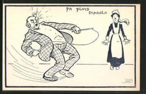 AK Pa plays Diabolo, Herr spielt mit einem Diabolo