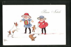 AK Mädchen mit Spielzug und einem Hund, Weihnachtsgruss