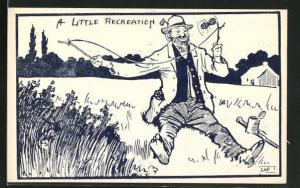 AK A little recreation, Mann spielt mit einem Diabolo