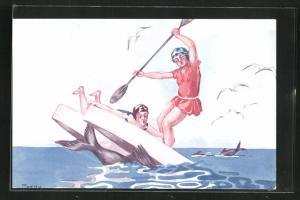 AK Paar in Badeanzügen auf einem Boot mit Walfischen