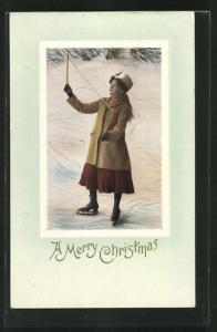 AK Mädchen mit Diabolo und Schlittschuhen steht auf dem Eis, Spielzeug