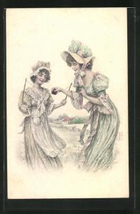 AK Zwei junge Frauen spielen mit dem Diabolo, Spielzeug