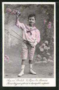 AK Junger Jongleur mit Diabolo, Spielzeug