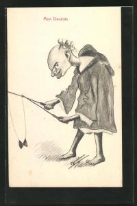 Künstler-AK Moro Diavolista, älterer Mann spielt mit dem Diabolo