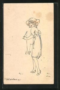 Künstler-AK Junge Frau mit Diabolo spielend, Spielzeug