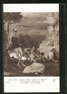 AK Badegäste nach dem Bad am Ufer liegend