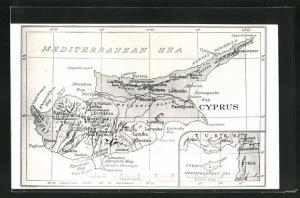 AK Zypern, Landkarte mit Lefka, Larnaka und Ktima