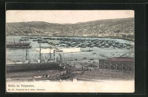 AK Valparaiso, Bahia, Hafenpartie mit Booten